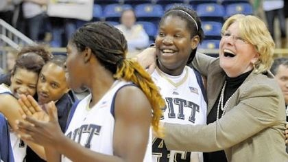 Pitt coach Agnus Berenato Pitt coach Agnus Berenato hugs Mercedes Walker after defeating West Virginia in overtime Feb. 26. Berenato signed a new contract yesterday to stay with the Panthers through the 2015-16 season.