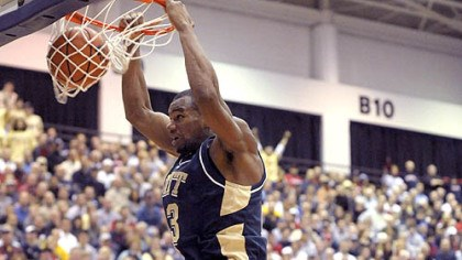 Pitt's Sam Young Pitt's Sam Young dunks in front of Duquesne's Aaron Jackson last night at the Palumbo Center. (at Dukes 12/05/2007)