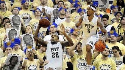 Pitt Zoo members Pitt Zoo members hold up cardboard cutouts of Brad Wanamaker and Gilbert Brown as they cheer on the Panthers in their 60-50 victory against Villanova Saturday afternoon at Petersen Events Center.