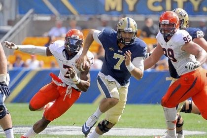 pittfb1 Pitt quarterback Tom Savage had negative-57 yards rushing against Virginia.