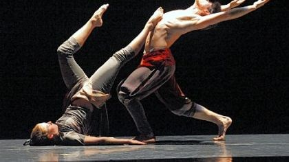 "Point Park dance Conservatory Dance members Erin Kouwe, left, and Zachary Kapeluck perform Toru Shimazaki's ""Bardo."""