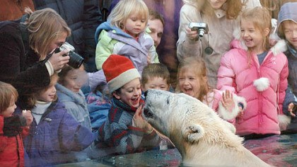 polar bear exhibit Children react as a polar bear approaches the window in the polar bear exhibit at the Pittsburgh Zoo & PPG Aquarium in 2006. The exhibit is one of the reasons the zoo was named fourth best in the country for kids by Parents magazine.