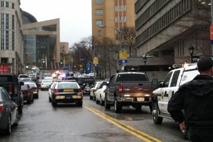 Police responding to the scene The view up De Soto Street in Oakland where police and emergency personnel responded to the shootings at Western Psychiatric Institute and Clinic this afternoon.