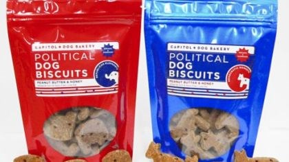 Political Dog Biscuits Political Dog Biscuit bags come in two different colors, with donkeys or elephants for your pet.