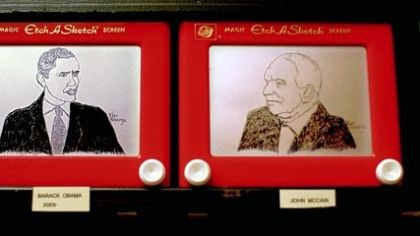 Portraits of presidents Tim George did several Etch A Sketch portraits of both 2008 presidential nominees -- President-elect Barack Obama and Sen. John McCain -- before deciding which ones to display at the Ohio Statehouse.