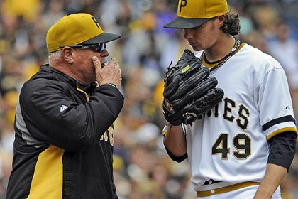 Possible last visit This might be the last time this season Pirates fans see pitching coach Ray Searage visiting starter Jeff Locke on the mound.