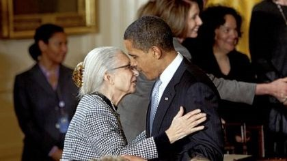 President Barack Obama President Barack Obama embraces White House Senior Adviser Valerie Jarrett's mother, Barbara Bowman, yesterday after signing an Executive Order creating the White House Council on Women and Girls.