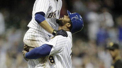 Prince Fielder and Ryan Braun The Brewers' Prince Fielder lifts teammate Ryan Braun after Braun got a game-winning hit during the 10th inning.