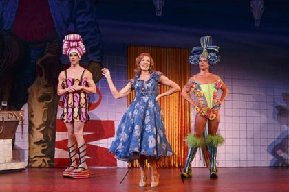 "Priscilla trio Wade McCollum, left, as Mitzi, Scott Willis as Bernadette and Bryan West as Felicia in the number ""I Love the Night Life"" from the national tour of ""Priscilla Queen of the Desert."""