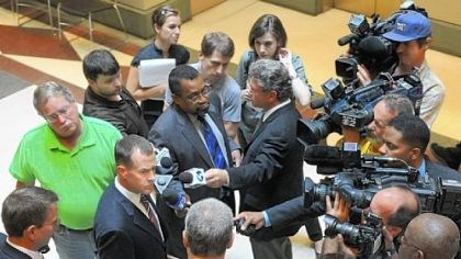 Prosecuting Attorney Mark V. Tranquilli Prosecuting Attorney Mark V. Tranquilli speaks with the media after the preliminary hearing for Kenneth Konias Jr., who will stand trial on charges he shot to death fellow armored car guard Michael Haines, 31, and stole $2.3 million.