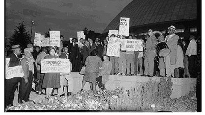 Protesters outside the Civic Arena, 1961. Protesters outside the Civic Arena, 1961.