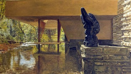 """View Under the Bridge"" ""View Under the Bridge"" shows Bear Run as it flows beneath Fallingwater, with Jacques Lipchitz's 1940s bronze ""Mother and Child."""