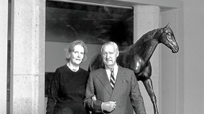 Rachel and Paul Mellon Rachel and Paul Mellon with horse sculpture at Virginia Museum of Fine Arts, circa 1987.