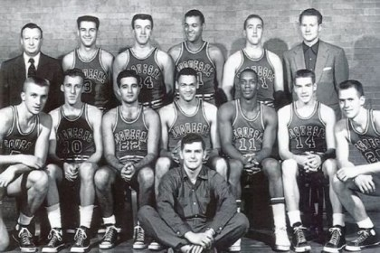 Ralph Leng Ralph Leng, far right on the front row, was a member of Duquesne's 1955 NIT championship team. While mostly a practice player, Mr. Leng was tasked with going up against future NBA No. 1 draft pick Sihugo Green (No. 11), front row.