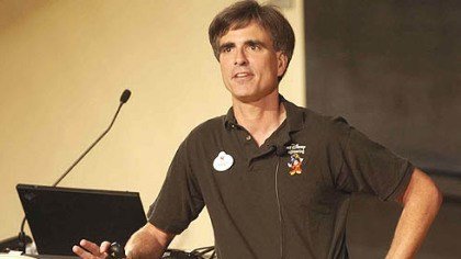 Randy Pausch at CMU Randy Pausch talks to the standing-room only crowd at Carnegie Mellon University's McConomy auditorium Sept. 18, 2007.