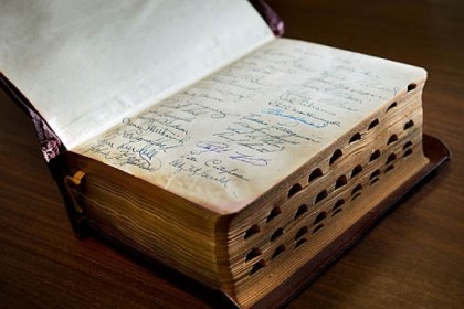 rare bible sacramento A rare Bible autographed by the members of the Pittsburgh Pirates baseball team is displayed at the Book Den in Sacramento, Calif.