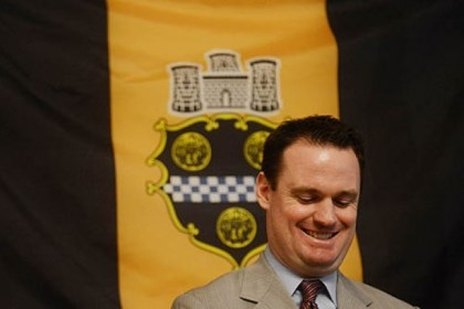 Ravenstahl chuckles Mayor Luke Ravenstahl chuckles during the press conference announcing he will not run for re-election.