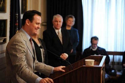 ravenstahl presser smiling Mayor Luke Ravenstahl smiles during the press conference announcing he will not run for re-election. His parents, Cindy and Judge Robert Ravenstahl, look on.