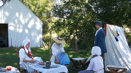 Re-enactment Colonial life was difficult with no modern amenities.
