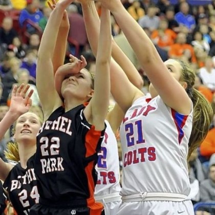 Rebound Bethel Park's Samantha Simpson fights for a rebound against Chartiers Valley's Kristin McGeough in the WPIAL Class AAAA title game Saturday at Palumbo.