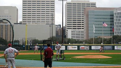 Reckling Park Stanford takes batting practice at Reckling Park. The light tower that Rice's Anthony Rendon struck in November is in the background.