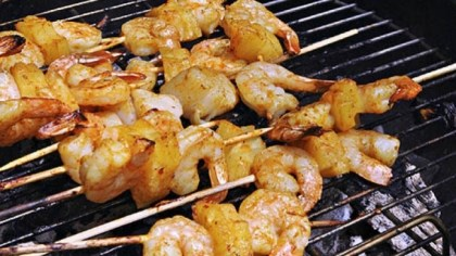 Red Curry Shrimp and Pineapple Skewers Red Curry Shrimp and Pineapple Skewers.