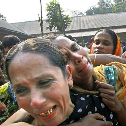 Relatives cry Relatives of garment factory workers killed in a fire cry as they come Sunday to collect bodies from a mortuary in Dhaka, Bangladesh.