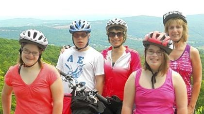 Riders Riding for a cause: in front, twins Jill, left, and Shari DeGeorge; in back, left to right, Alex, and Lori Novak and Pam DeGeorge.