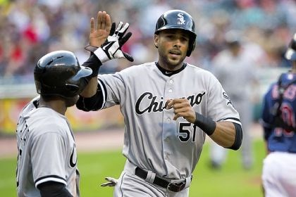 rios White Sox outfielder Alex Rios, right, celebrates with Alejandro De Aza after both scored on a double by Adam Dunn in the first inning Tuesday against the Indians at Progressive Field in Cleveland. Rios is a potential trade deadline acquisition for the Pirates.
