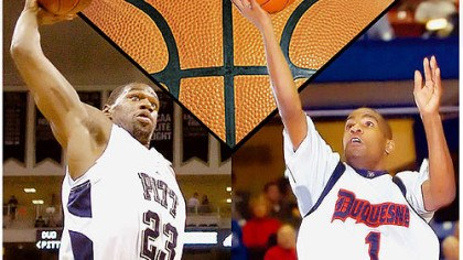 Rivalry deflated City Game veterans Sam Young, left, of Pitt, and Aaron Jackson of Duquesne.