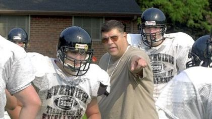 Riverview Football Former Riverview High School head football coach Jake Cappa, center, during practice in August 2000
