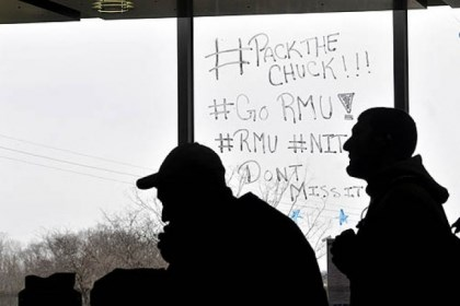 rmu windows fans Slogans are painted on the windows of the Nicholson Center at Robert Morris University.