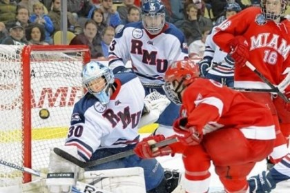 RMULevine Robert Morris goalie Eric Levine uses sport-psychology principles to guide him in the net.
