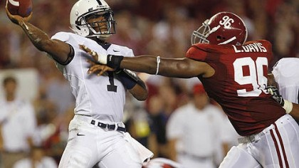 Robert Bolden Penn State quarterback Robert Bolden is pressured by Alabama's Luther Davis durng a game at Bryant-Denny Stadium in Tuscaloosa, Ala. in September. Penn State lost to then top-ranked Alabama, 24-3.