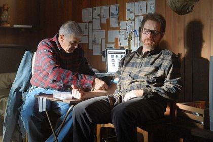"Robert Forster and Bryan Cranston Robert Forster, left, and Bryan Cranston in a scene from the penultimate episode of ""Breaking Bad,"" which aired last Sunday. The Nielsen company said that on the same night that ""Breaking Bad"" won an Emmy Award for best drama, the show set a viewership record. An estimated 6.6 million people watched the show."