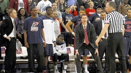 Robert Morris coach Andy Toole Lucky Jones Robert Morris coach Andy Toole looks to the referee after no foul was called on a hit that landed Lucky Jones on the floor Wednesday night against Long Island in Brooklyn.
