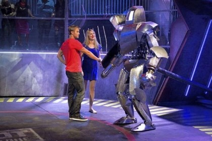 "'Robot Combat League' Carnegie Mellon grad student and robotics expert Heather Knight and her partner, John Peele, get acquainted with their fighter, ""Medieval."" They competed on this week's episode of Syfy's ""Robot Combat League."""
