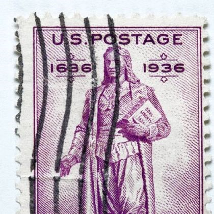 rog Roger Williams appears on the Rhode Island tercentenary postage stamp.