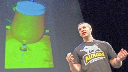 Ryan Bove Ryan Bove, one of the founders of Aurochs Brewing Co., pitches the company at AlphaLab Demo Day. Aurochs Brewing uses ancient grains to brew gluten-free beer.