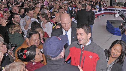 Ryan greets supporters at stop in Moon Republican vice presidential candidate Paul Ryan greets supporters after his speech at Atlantic Aviation in Moon Township today.