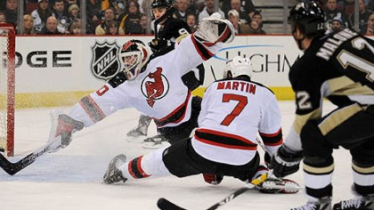 Ryan Malone Ryan Malone breaks a 1-1 tie late in second period by knocking a shot past New Jersey's Martin Brodeur,