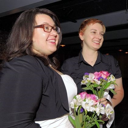 Same-sex wedding Elizabeth Pantalone, 25, left, and Holly Fromlak, 30, were married by Braddock Mayor John Fetterman.