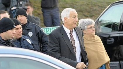 Sandusky Jerry Sandusky and his wife, Dottie, arrive Tuesday at the Centre County Courthouse for his preliminary hearing.