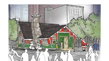 Santa's House An artist rendering of Santa's House, part of the European Market the Pittsburgh Downtown Partnership will bring to Market Square during its Christmas holiday promotion.