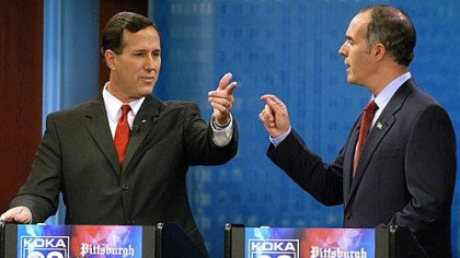 Santorum 2006 October 2006: Rick Santorum, then U.S senator, debates challenger Robert Casey Jr. on KDKA-TV.