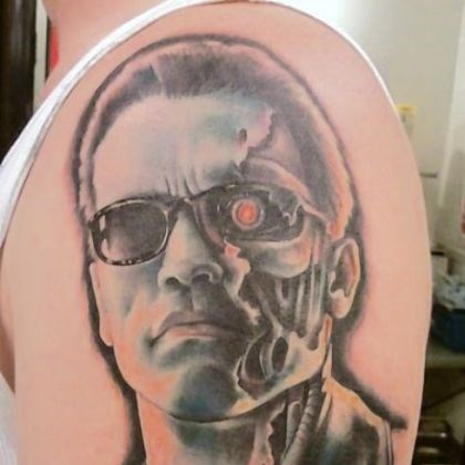 "Sarah Miller tattoo Sarah Miller's rendition of Arnold Schwarzenegger as ""The Terminator."""