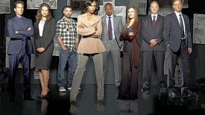 "'Scandal' cast ABC's ""Scandal"" stars Henry Ian Cusick, left, Katie Lowes, Guillermo Diaz, Kerry Washington, Columbus Short, Darby Stanchfield, Jeff Perry and Tony Goldwyn."