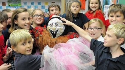 Scarecrows Fourth-graders from Kelly Ryan's class at St. Sebastian School in Ross assemble scarecrows at the school last week.