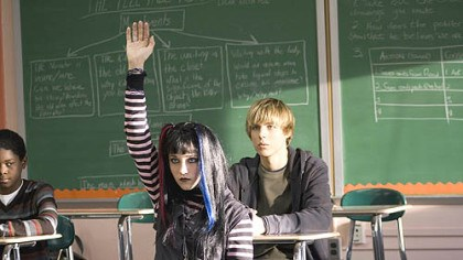 "Scene from ""The Haunting Hour"" Cassie, played by Emily Osment, left, wants to befriend classmate Sean, played by Cody Linley, in ""The Haunting Hour."""