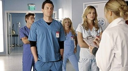 "'Scrubs' spinoff Dave Franco, left, Michael Mosley, Nicky Whelan, Kerry Bishe and Eliza Coupe will be doing rounds when ""Scrubs"" returns tomorrow night."